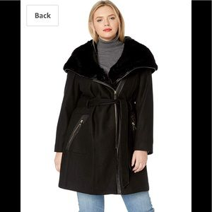 Via Spiga Plus Wool Coat Fur Hood and Faux Leather
